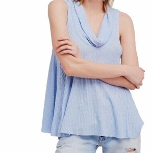 Free People Swing It Cowl Neck Waffle Knit Tank XS